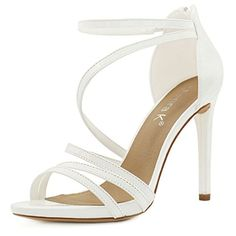 Allegra K Woman Open Toe Stiletto High Heel Strappy Sandals (Size US 9) White... Coming in shimmery PU, these strappy sandals are outfitted with a slim stiletto heel and an invisible back zipper. And a wrap-around strap at the ankle assures that your heels will stay firmly in place if you feel like kicking them up. Strappy SandalsOpen ToeStiletto High HeelZipper BackVamp:......http://bit.ly/2on1fgN