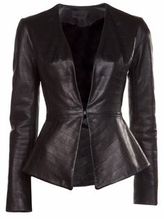Elizabeth Charles Croc Leather Jacket