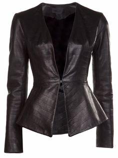 Elizabeth Charles Croc Leather Jacket