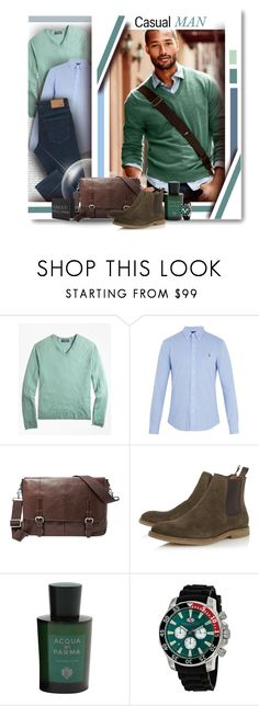 """""""CASUAL MAN"""" by angelflair ❤ liked on Polyvore featuring Brooks Brothers, Polo Ralph Lauren, Trilogy, FOSSIL, Dune, Acqua di Parma, Seapro, Gucci, men's fashion and menswear"""