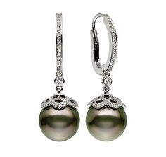 ARABESQUE TAHITIAN PEARL DROP EARRINGS Tahitian pearls hang from the diamond and platinum lattice caps, which in turn are gently suspended from diamond set loops. With diamonds totaling 0.68cts, these elegant earrings entice and charm.