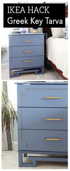 Transform a basic Tarva Ikea dresser into a Greek Key wonder.  Easy hack with simple supplies.