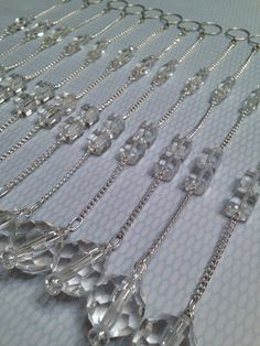 Shower Curtain Decoration 12 Strands 8 Inches Long All Clear Glass Beads On