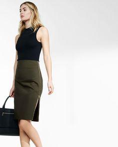 high waisted side zipper midi pencil skirt. Office FashionPencil Skirt  CasualGreen ... 8216f4c8372b