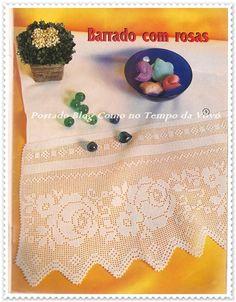 Rose edging filet work with diagram Crochet Lace Edging, Crochet Borders, Crochet Flower Patterns, Crochet Doilies, Crochet Flowers, Filet Crochet Charts, Crochet Curtains, Irish Lace, Crochet Cardigan
