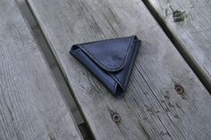 Black leather coinpurse / triangle coinpurse by NHLdesign on Etsy