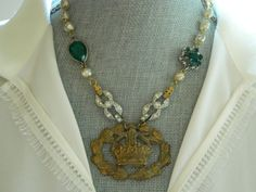Statement Necklace Crown Pearls and Rhinestones by 58Diamond