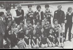 1974-1975 Varsity  Cheerleaders & Basketball  Team after winning the  Bi-County tournament, January 1975,  John Glenn High School, Walkerton, Indiana