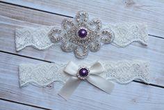 Eggplant Purple Wedding Garter Set - Rhinestone Pearl Wedding Garter - Ivory Lace on Etsy, $24.00