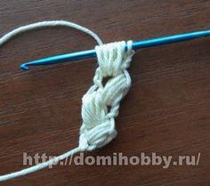 """Crochet string """"spike"""" crochet lush string columns until the desired length."""