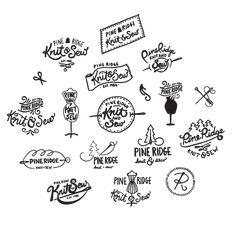 Pine Ridge Knit & Sew | sketchbook logo process by Kayla English