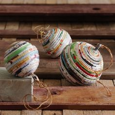 recycled paper ornaments