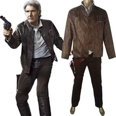 Star Wars The Force Awakens Han Solo Jacket Shirt Pants Deluxe Outfit Halloween Cosplay Costume