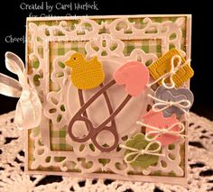 Carol Hurlock: Chocolate, Crafts, and Bears, Oh MY! for CottageBLOG: CottageCutz Baby Shower Gift Cards - 8/9/12  (Cottage Cutz: Diaper Pins Mini; Baby Buttons Mini.  Spellbinders: Fleur de Lis Square; Doily Motif)   (Pin#1: Dies: Cottage Cutz. Pin+: Babies...)
