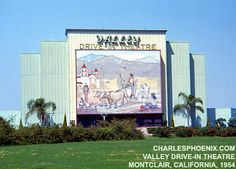 Valley Drive In...northeast corner of Holt and Central in Montclair, Ca...Large neon mural painting at entrance of drive-in movie theater...had monkeys and swings down front