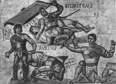 Gladiatorial fight. Detail. Mosaic from the Villa Borghese. Ca. 300 A.D.Rome, Museum and Gallery of Villa Borghese.
