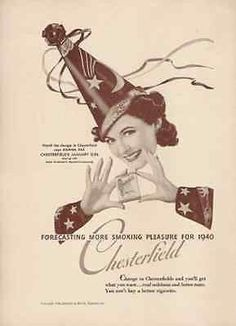 Wizard January Girl Hat Chesterfield Cigarettes 1940 AD