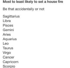 The signs most to least likely to set a house on fire, be it accidental or not