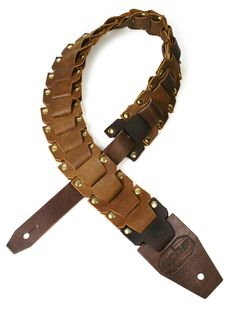 Leather Guitar Strap Track Link Tan with Brass Rivets.   25 Full-Grain Cowhide Links 50 Nickel Rivets Dagger Tab & Tail. Handmade for You