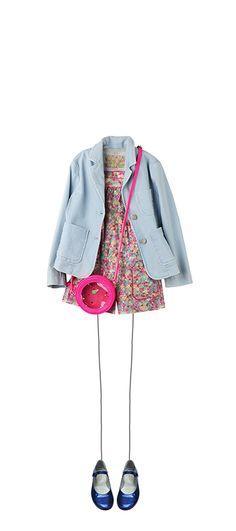 Shadow jacket Light Denim Azalée playsuit Turqoise Liberty Gomette bag Cherry Ella Mary Janes Deep Blue