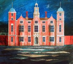 Blickling Hall / Ed Kluz Here contrasting colours have been used to make the main focus stand out. Building Drawing, Building Art, Yorkshire Towns, Spring Term, English Romantic, The English Patient, Art Houses, Collage Techniques, Historical Architecture