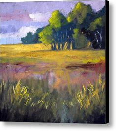Field Grass Landscape Painting Canvas Print / Canvas Art By Nancy Merkle