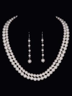 Double Pearl Bead Necklace and Drop Earring Wedding Jewelry Set - Affordable Elegance Bridal -
