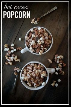 The perfect treat for chilly nights: Hot Cocoa Popcorn. Gifts for winning shower games :) Popcorn Recipes, Snack Recipes, Dessert Recipes, Gourmet Popcorn, Recipe Treats, Popcorn Snacks, Oats Recipes, Thm Recipes, Candy Recipes