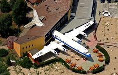 Malev - Hungarian Airlines, Ilyushin operating as a restaurant in Abda, Hungarian village near Gyor by Daniel Somogyi-Toth Holiday Destinations, Vacation Destinations, Aeroplane Flying, Vintage Airplanes, Amazing Buildings, Aircraft Pictures, Great View, Places Around The World, Aviation