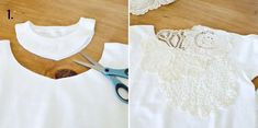 Make your own off the shoulder lace sweatshirt