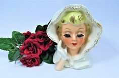 Lady HEAD VASE INARCO   E-240 Vintage 1961.  The Head Vase is