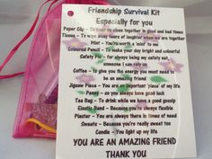 Friendship Novelty Survival Kit Gift Keepsake Fun Present | eBay