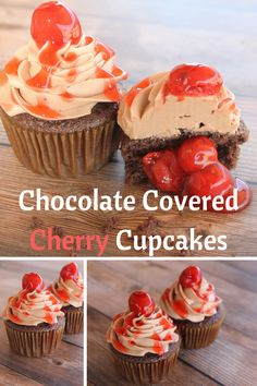 Chocolate Covered Cherry Cupcakes with Chocolate Buttercream Frosting! Easy and Delicious Recipe.