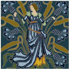 Walter Crane ontworpen zes flower fairy tegels c. 1900 - dit heet Korenbloem. Een perfecte maat voor een kussen, of voor inlijsten. Gestikt op een diep antiek blauwe achtergrondkleur, met hoogtepunten van de baby blauwe jurk, en diep gele maïs tassles. Patroon is opgenomen in een grafiek/in kaart worden gebracht en kan worden gebruikt voor een ambacht die gebruikmaakt van deze techniek - haken, breien, beading, enz...  U moet Adobe Reader om uw pdf-bestanden te openen. Dit houdt zowel…