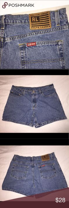 Vintage Polo Denim Shorts Vintage Ralph Lauren Polo denim shorts. They seem very true to today's sizing - when laid flat they measure 15 and 1/2 inches across. Very cool and vintage is currently very trendy! I found these exact same shorts online for $56. In excellent vintage condition! Polo by Ralph Lauren Shorts Jean Shorts