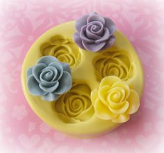 Rose Cabochon Mold Silicone Flower Fondant Resin Soap Embed Polymer Clay Mold