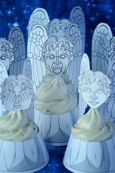 Doctor Who Weeping Angels Cupcake Wrappers & Toppers PRINTABLE FILE