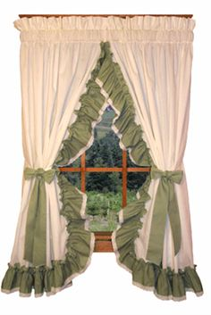 Victorian Ruffled Priscilla Curtains with Lace Edging. Madelyn Victorian ruffled priscilla window curtains offer an elegant country ruffled window treatment. Ruffle Curtains, Burlap Curtains, Rod Pocket Curtains, Blackout Curtains, Window Cornices, Window Curtains, Pelmet Box, Swag Curtains, Curtain Styles