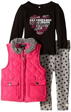 Calvin Klein Baby Girls' Quilted Vest with T-Shirt and Pant: Three-piece set with long-sleeve logo tee, quilted vest, and patterned legging with elastic waistband Little Boy Outfits, Toddler Girl Outfits, Toddler Girls, Baby Girls, Girls Dress Pants, Baby Girl Dresses, Pink Quilts, Thing 1, Patterned Leggings
