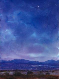 "Santa Fe Pillow - David Rothermel - watercolor & pastel, 52""x38"" - http://drfa-sf.com/index.html"