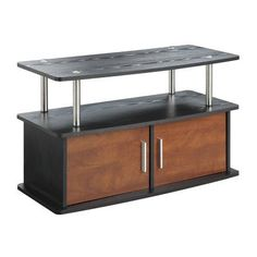 Convenience Concepts Deluxe 2 Door TV Stand with Cabinets  Finish: Cherry