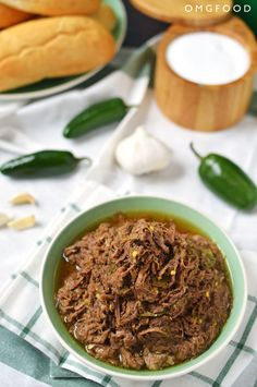 Slow Cooker Jalapeño Garlic Beef is delicious and versatile- serve it in tacos, over rice, or just grab a bowl (it's that good)! #CrockPot