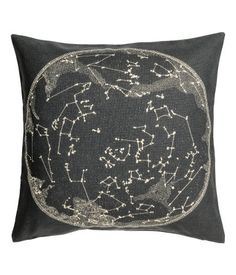 Cushion Cover with Motif   Charcoal gray/white   H&M HOME   H&M US