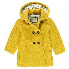 Manteau en drap de laine effet fantaisie à capuche amovible
