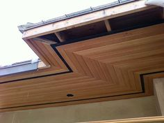 Stain one row of wood soffit