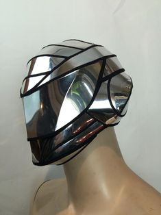 futuristic inspired cyborg mask helmet headpiece robot by divamp Futuristic Helmet, Futuristic Motorcycle, Daft Punk, Headdress, Headpiece, Steampunk, Mandalorian Cosplay, Warrior Helmet, Mouth Mask Fashion
