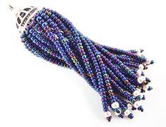 Long Blue Iris Beaded Tassel  Matte Silver Plated by LylaSupplies, $10.00