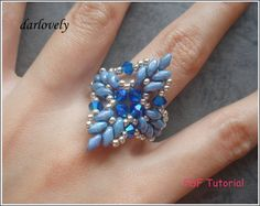 Superduo Blue Leaves Ring RG190 PDF Tutorial by darlovely on Etsy