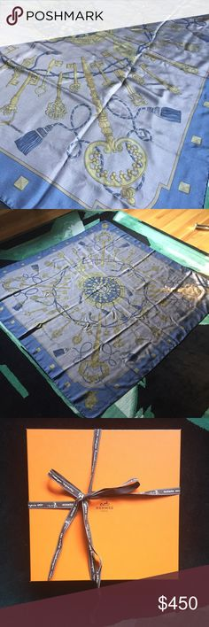 """Hermes large silk Carre Geant Surteint Beautiful large silk scarf in absolutely excellent condition. Beautiful key design in blue/slate blue color palette. Wear it as a large scarf, knot it for a wrap top, frame it for the wall. PERFECT holiday gift for picky moms and mothers-in-law in original box with original Hermes ribbon, original receipt can be sent with purchase. 55 inch square.  Ruelala sells an Hermes 35"""" scarf for 350 so this much larger 55"""" is a great deal! Hermes Accessories…"""