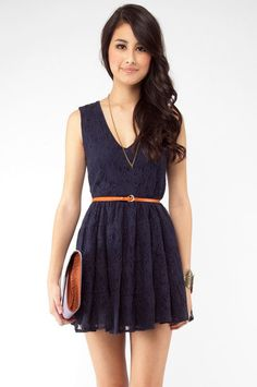 Cute, simple and cheap. I'll take it.    Navy lace belted dress, tobi $37